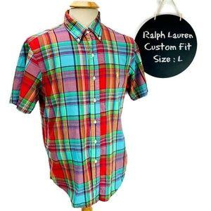 Ralph Lauren Mens Shirt Short Sleeve Button Down M